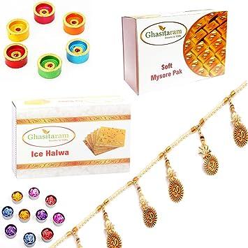 Ghasitaram Gifts Diwali Gifts Diwali Hamper Mysore Pak and Ice Halwa with Set of 6 Diyas