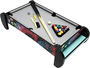 Pool Table-Tabletop Mini Pool Table Set and Accessories, 38 Inch Mini Pool Table with Pool Cues, Billiard Balls, Racking Triangle, Cue Chalk and Table Brush, Authentic Table Top Game for Fun