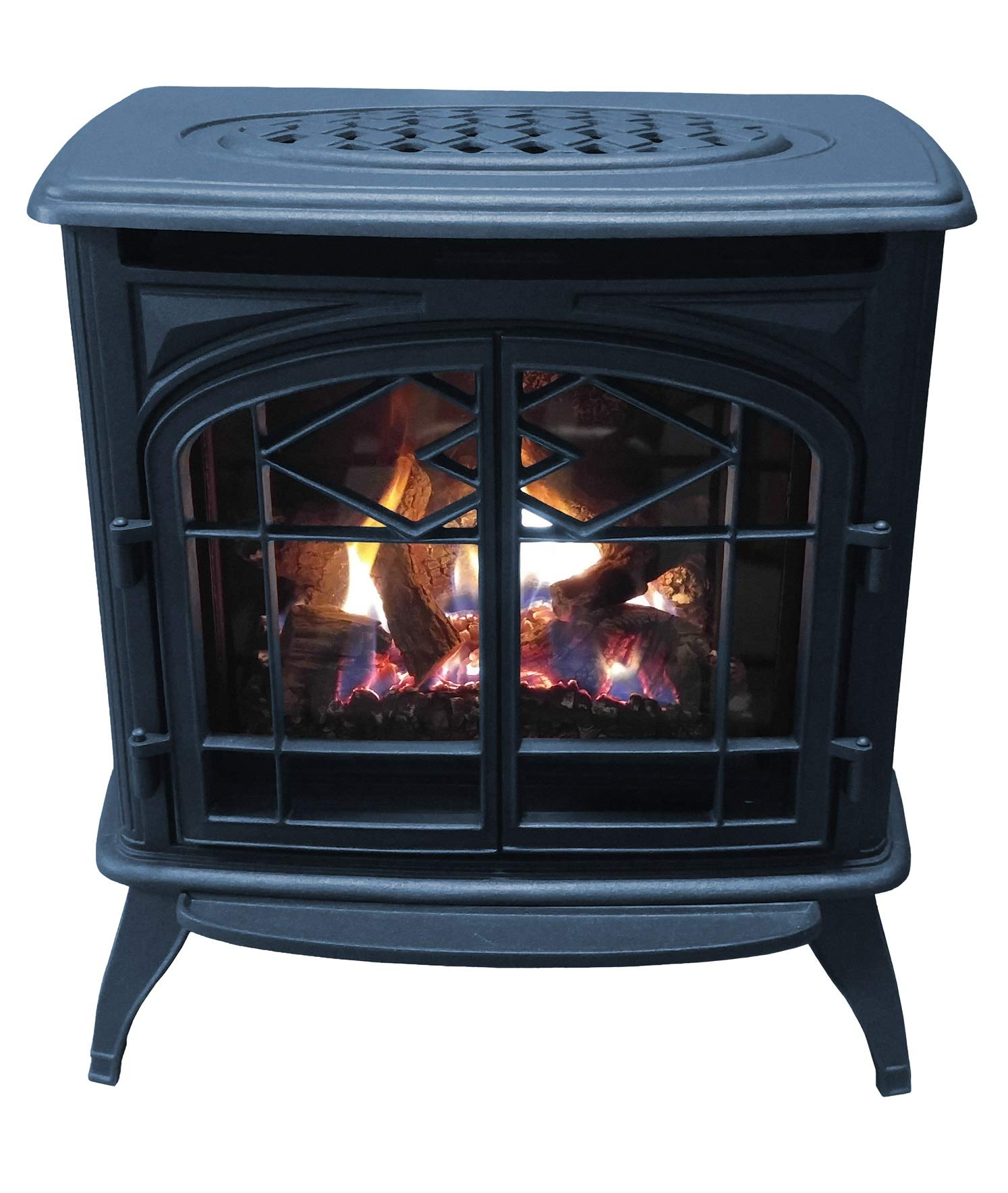 Thelin Echo Direct Vent (NG) Natural Gas or (LP) Propane Heater - Cast Iron Painted in Metallic Blue by Thelin Echo DV Gas