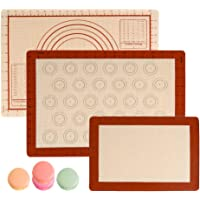 OFNMY Silicone Baking Mat with Measurements - Set of 3 100% Non Stick Baking Mats, Pastry Mat & Macaroon Silicone Mat - 2 Half Sheet Liners and 1 Quarter Sheet Silicone Mat for Baking Pan, Dough Rolli
