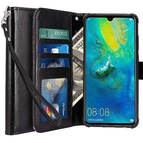 LK Huawei Mate 20 Funda, Carcasa Cubierta Cuero Billetera Case Flip Cover con Ranuras de