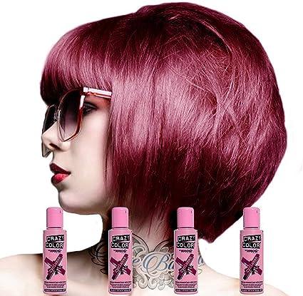 Crazy Color - Tinte de pelo semipermanente en crema, color púrpura, 4 x 100 ml