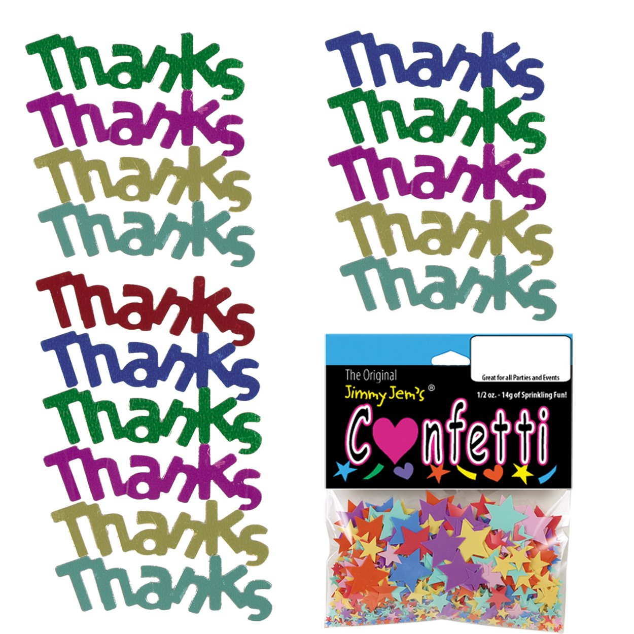Confetti Word Thanks Multicolors Free Ship Z-Barten Productions Retail Pack #7887