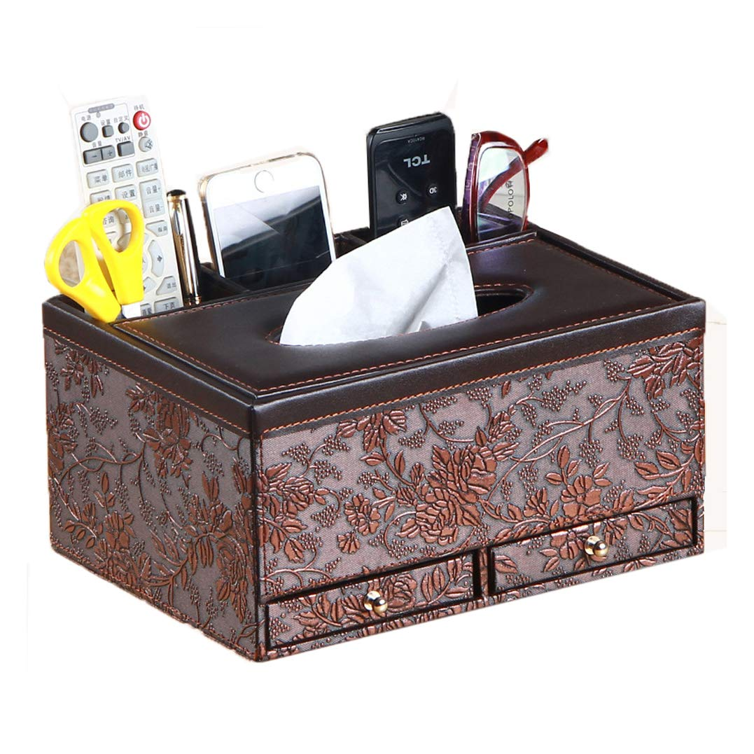 Multifunctional Tissue Box Holder with Drawer, 3 Slots PU Leather Cover for Pencil Remote Control iPhone Holders and Home Desk Organizer (Vintage)