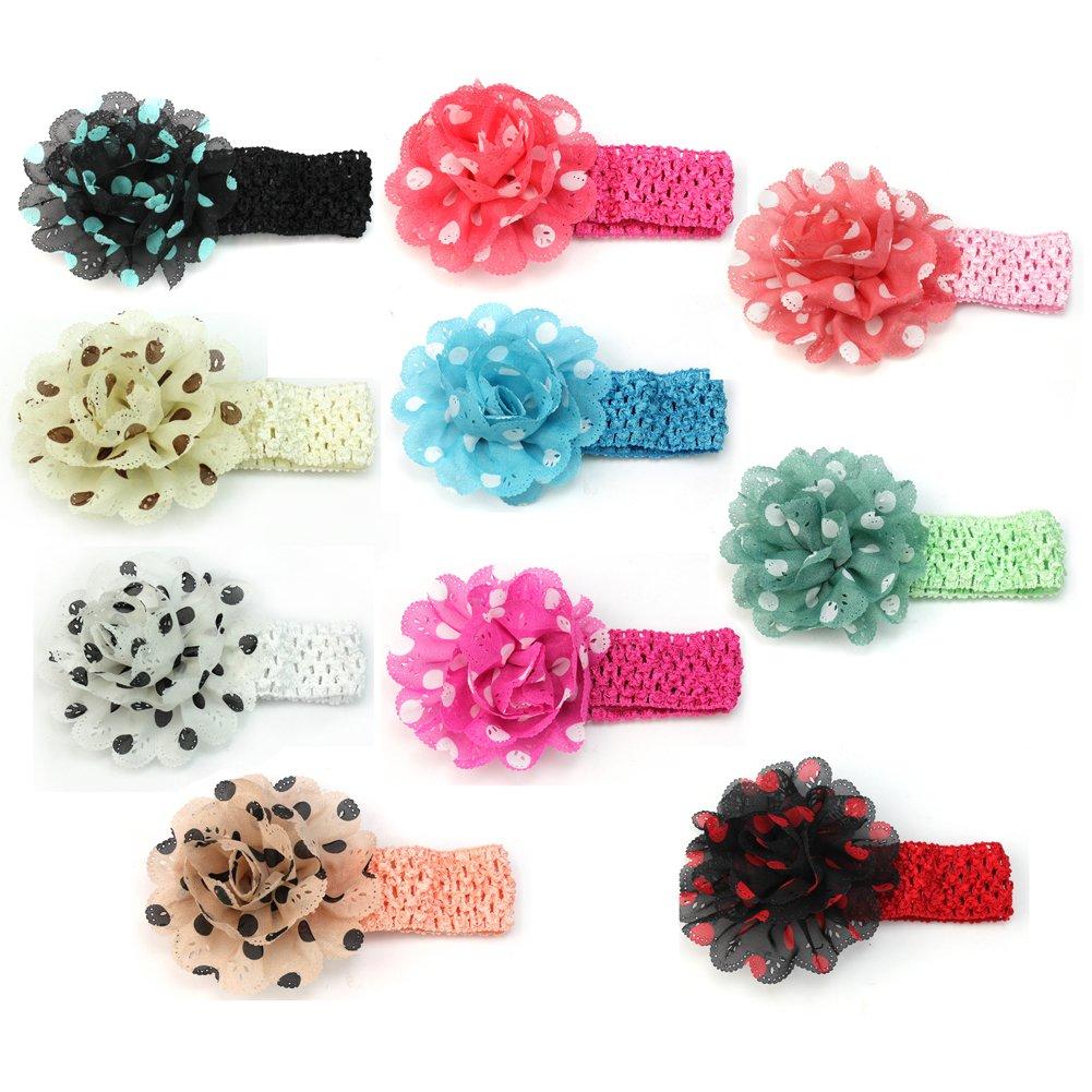 10pcs Fashion Polka Dot Chiffon Flower Baby Girl Kid Hairband Hairwear Crochet