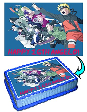 Excellent Naruto Team Personalized Cake Toppers Icing Sugar Paper 1 4 8 5 X Personalised Birthday Cards Sponlily Jamesorg