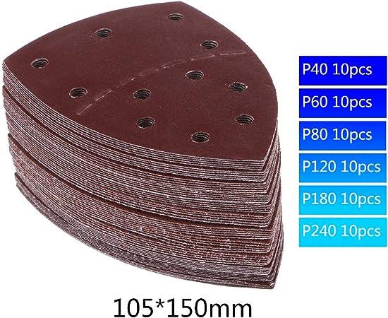 60 Pi/èces feuilles de pon/çage /& fermeture Velcro 105x152 mm Granulom/étrie par 10 x 40//60//80//120//180//240 pour Multi-ponceuses Bosch Prio Ventaro