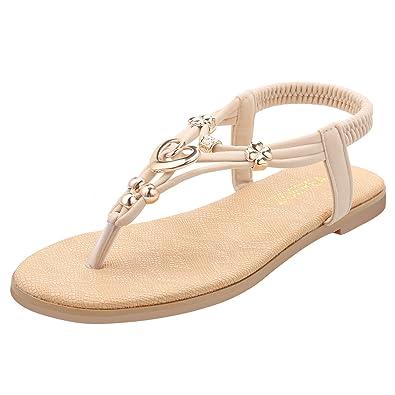 43e92b86198 ZOEREA Sandale Femme Plate Chaussures Femme ete Beige  Amazon.fr ...