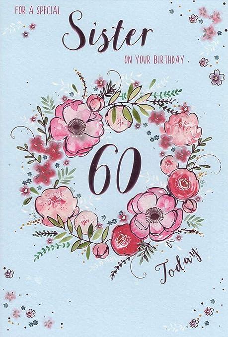 ICG Tarjeta de felicitación para hermana por 60 cumpleaños ...
