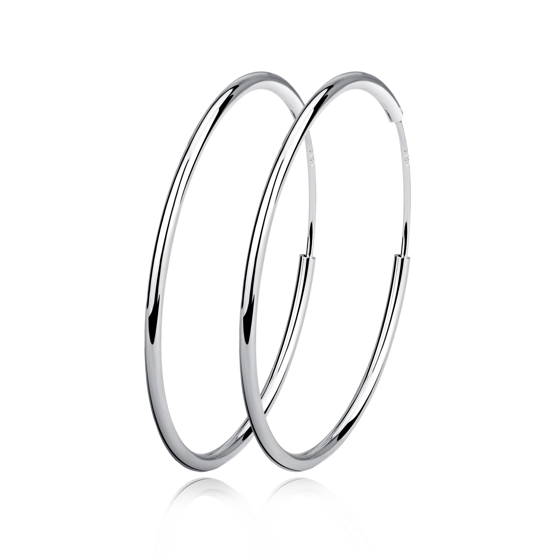 Sterling Silver Circle Endless Hoop Earrings - Jewelry for Women Girls,Daimeter 20,30,40,50,60mm (Diameter 60mm)