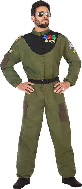 Atosa-50876 Disfraz hombre militar piloto, color verde, M-L (50876 ...