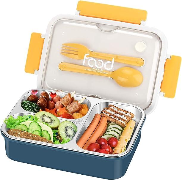 TDCQ Lunch Box,Lunch Box con 2 Scomparti,Kids bento Box,Lunch Box con Posate Microonde,Lunch Box Termico Ermetico,Lunch Box Termico,bento Box con Posate
