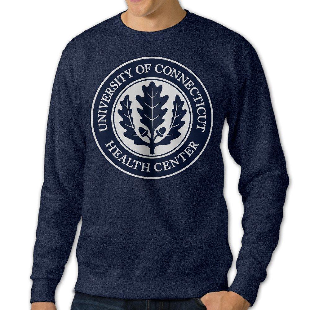 ESSES University Of Connecticut Health System Seal Mens Crew-Neck Sweatshirt Navy