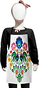 Lunarable Gallus Apron, Polish Pattern with Roosters Garden Happy Fashion Celebration Spring Slav Poland, Small Apron Bib with Adjustable Ties for Baking Painting, Small Size, Multicolor