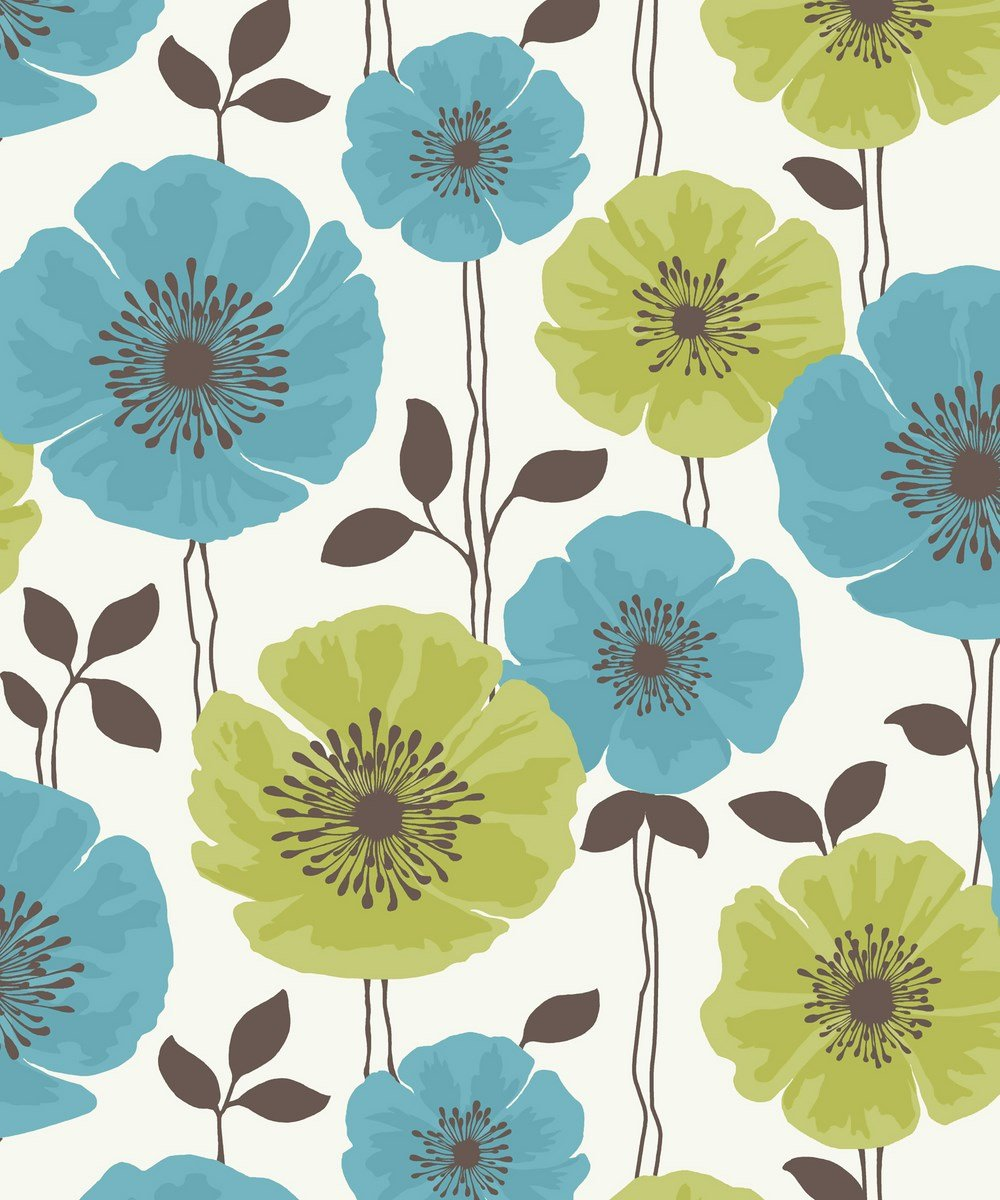 Fine Decor Poppie Designer Feature Wallpaper Lime Teal Flowers FD14865 Amazoncouk Kitchen Home