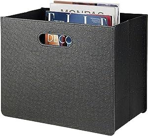 HofferRuffer Magazine Basket Holder, Foldable Magazine Rack, Document File Holder Organizer, File Folder, Newspaper Storage Bin Organizer for Home or Office, Home or Office (Black)