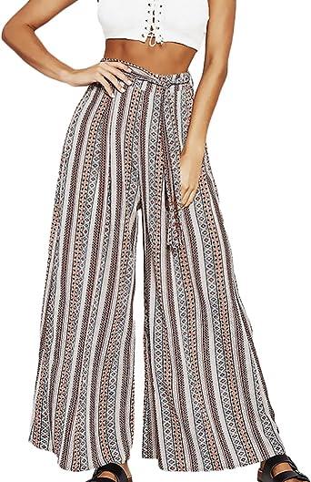 Pantalones Anchos Mujer Verano Vintage Estampado Talle Alto Casual Pantalon Hippie Pantalones Palazzo Senora Moda Fiesta Amazon Es Ropa Y Accesorios