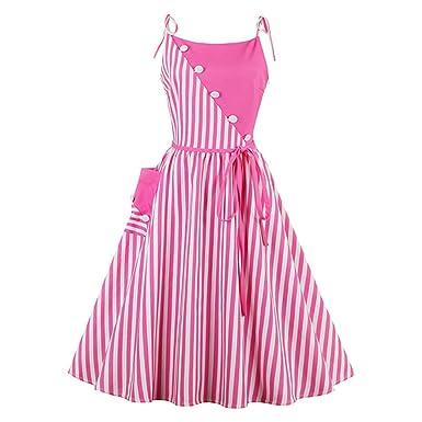 HaKPy Women Knee Length Sleeveless Strapless Striped Spaghetti Strap Dresses