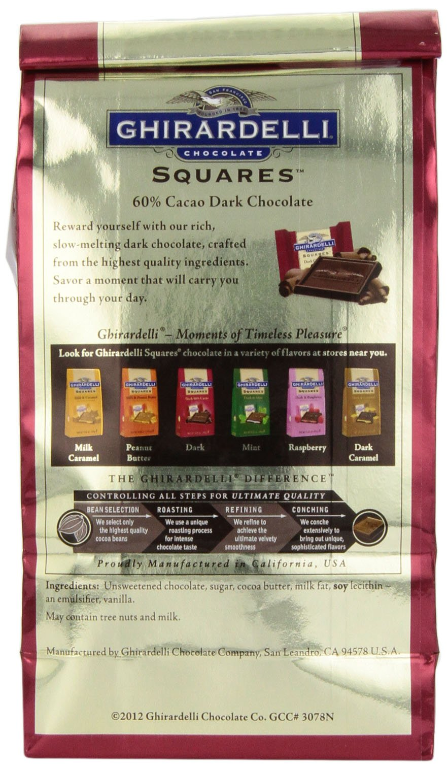 Ghirardelli Chocolate Squares, Dark Chocolate, 5.25 oz., (Pack of 6) by Ghirardelli (Image #5)