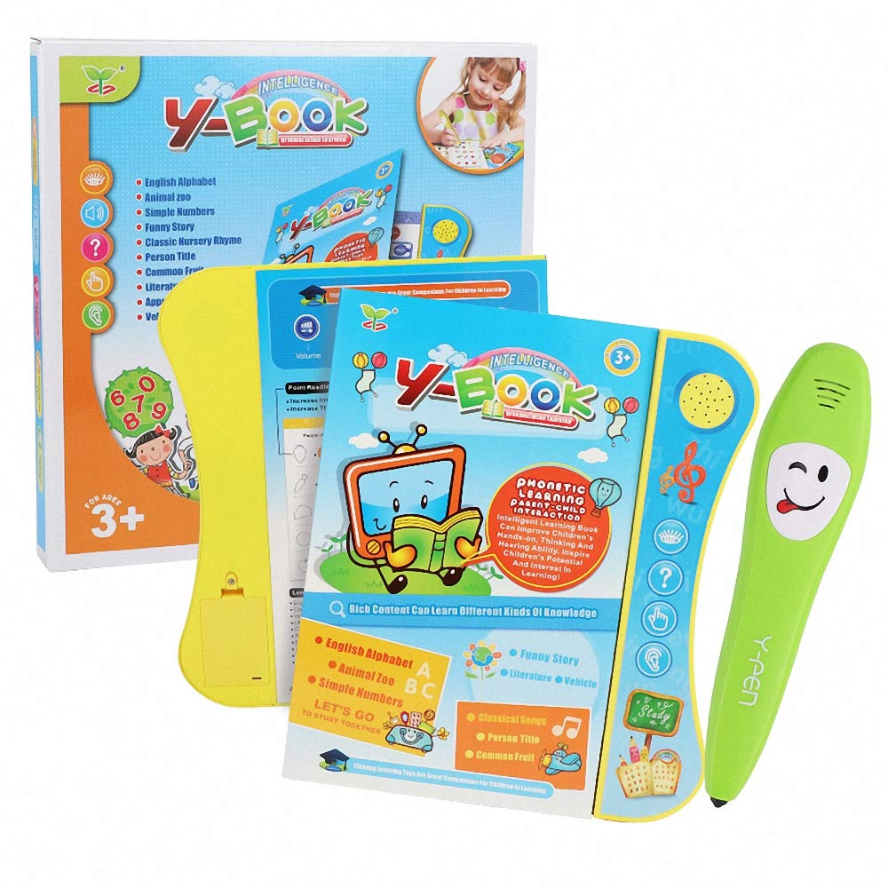 Anmada ABC Book Sound Educational Learning Toy with Letters, Words, Numbers, Shapes, Colors, Fruit, Vehicle & Animals, Etc, Blue, 8.7'' x 0.7'' x 10.2''