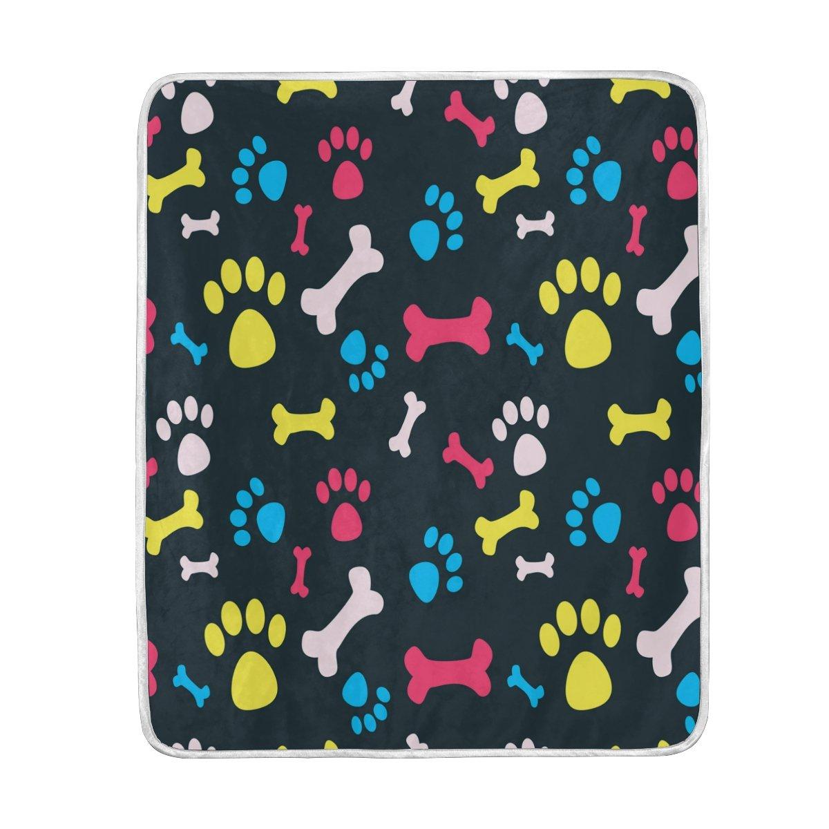 Alaza犬ペットFootprints Blanket Luxury Throw PersonalizedスタイリッシュFuzzyソフト暖かい軽量毛布ベッド用Counch All Seasonユニセックスメンズレディース男の子女の子50 x 60インチ B076F2BSX2
