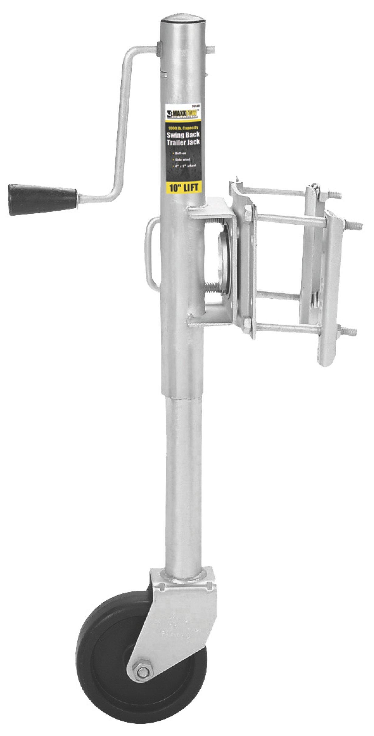 MaxxHaul 70148 10'' Lift Swing Back Trailer Jack with Single Wheel - 1000 lbs. Capacity by MaxxHaul