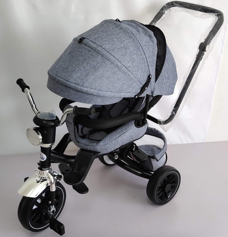 Triciclo Bebé Toral Gris 2 en 1 Evolutivo con Capota y Barra Desmontable 18 m+