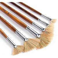 Artist Fan Paint Brushes Set 6pcs - Hog Bristle Natural Hair - Artist Soft Anti-Shedding Paint Brushes for Acrylic…