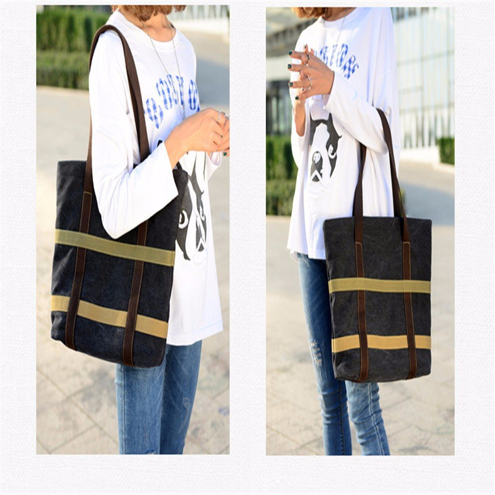 GAOQIANGFENG Canvas bag of brief literature and art,black