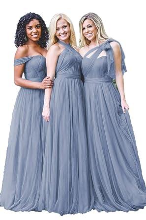 c9ba9d03b0 Dusty Blue Convertible Tulle Long Wedding Bridesmaid Dresses 2018 for Women  Size 2