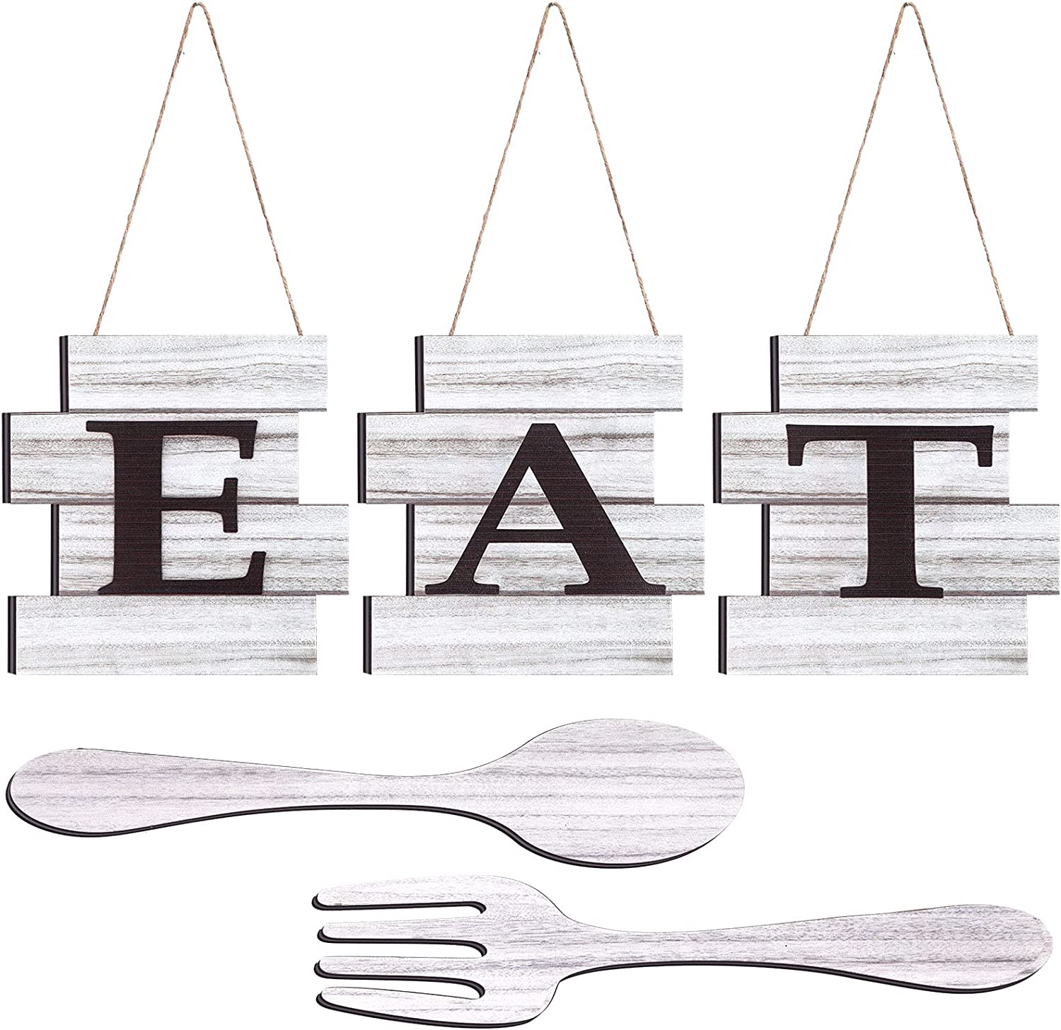 Yookeer Set of 5 Pieces Eat Sign Wall Decor, Rustic Farmhouse Spoon Fork Wooden Sign Decoration Country Wall Art Decorative Hanging Wooden Letters for Kitchen Home (Light Gray)