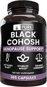 Pure Black Cohosh, 365 Capsules, 800mg Servings, Natural Herbal Supplement, Lab-Verified, Non-GMO, No Additives or Fillers, Made in The US, Satisfaction Guaranteed