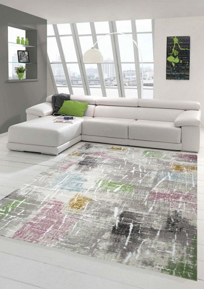 Designer und Moderner Teppich Kurzflor Wohnzimmerteppich in Lila Beige Grün Blau Größe 200 x 290 cm