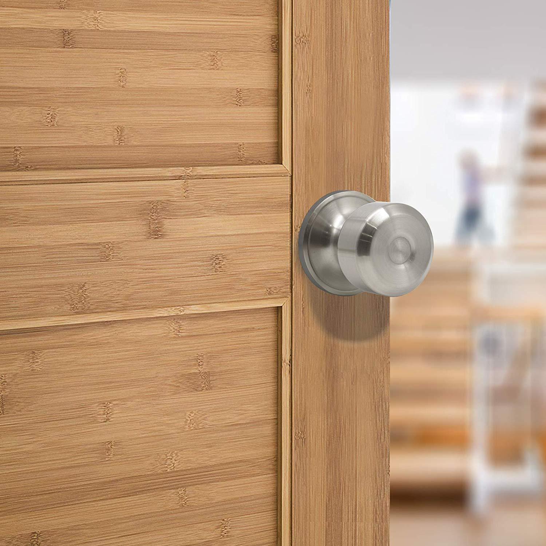 Pomo para puerta de acero inoxidable con cerradura de n/íquel cepillado Probrico