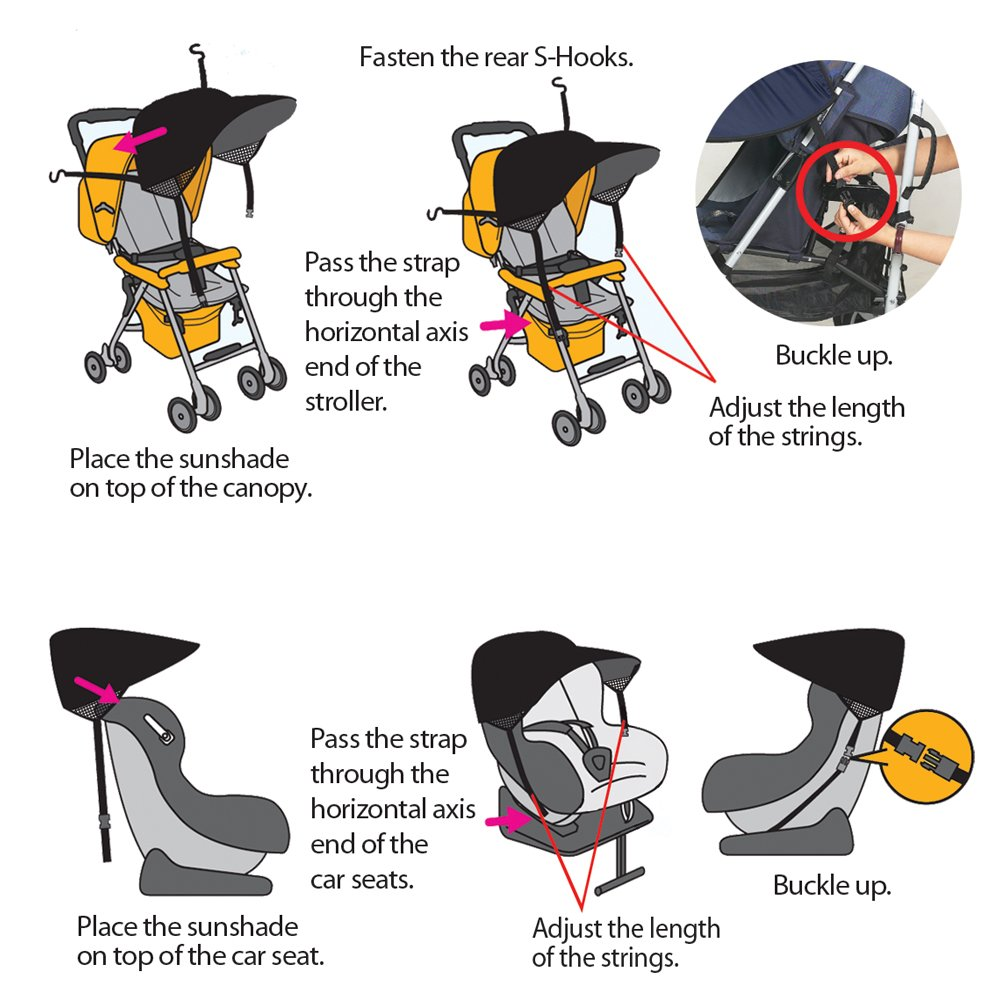 Manito Sun Shade for Strollers and Car Seats - Black (7 Available Colors) by Manito (Image #5)