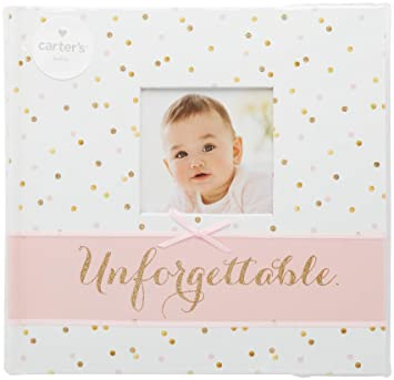 Amazoncom Carters Pink And Gold Polka Dot Slim Bound Photo Album