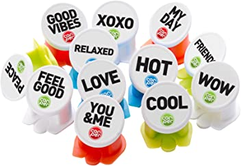 Canper, Reusable Soda Can Cap, 12 Pack Words, Multicoloured
