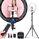 """Yesker Ring Light 18"""" Wireless Remote LCD Screen with Tripod Stand 65W LED Ringlight Bi-Color 3200-5500K CRI≥95 for Portrait"""
