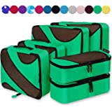 6 Set Packing Cubes,3 Various Sizes Travel Luggage Packing Organizers (Lime Green)
