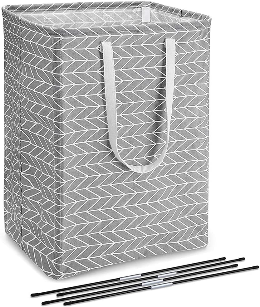 SUNVITO 72L Foldable Laundry Hamper, Large Clothes Basket, Simple Style Clothes Hamper for Clothing Organization/Toys Storage/Bathroom/Home Decor (Gray)