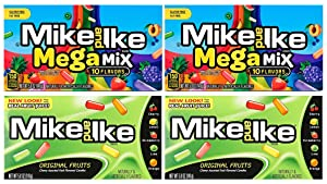 Set of 4 Mike and Ike Chewy Assorted Fruit Flavored Candies - Features Two Themes Including Original Fruit Flavors and Megamix Fruit Flavors - Gluten Free & Fat Free - 15 Different Flavors Total!