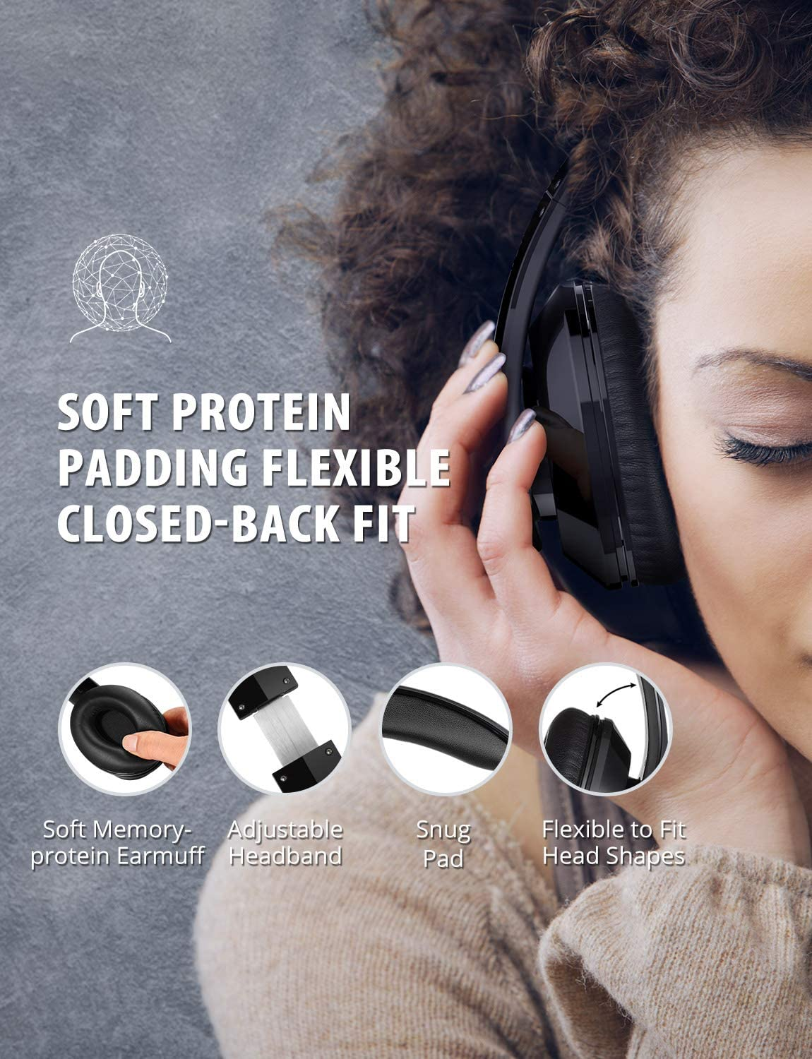 Built-in Mic Wired Mode PC//Cell Phones//TV Foldable Soft Memory-Protein Earmuffs Wireless Headset Hi-Fi Stereo Sound Over-Ear Wireless Headphone Mpow 059 Bluetooth Headphones