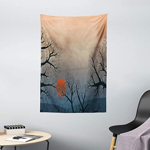 Ambesonne Nature Tapestry, Sun Rises Between Tree Branches in Misty Weather Foggy Sky Illustration, Wall Hanging for Bedroom Living Room Dorm Decor, 40 X 60 , Slate Blue Orange Peach