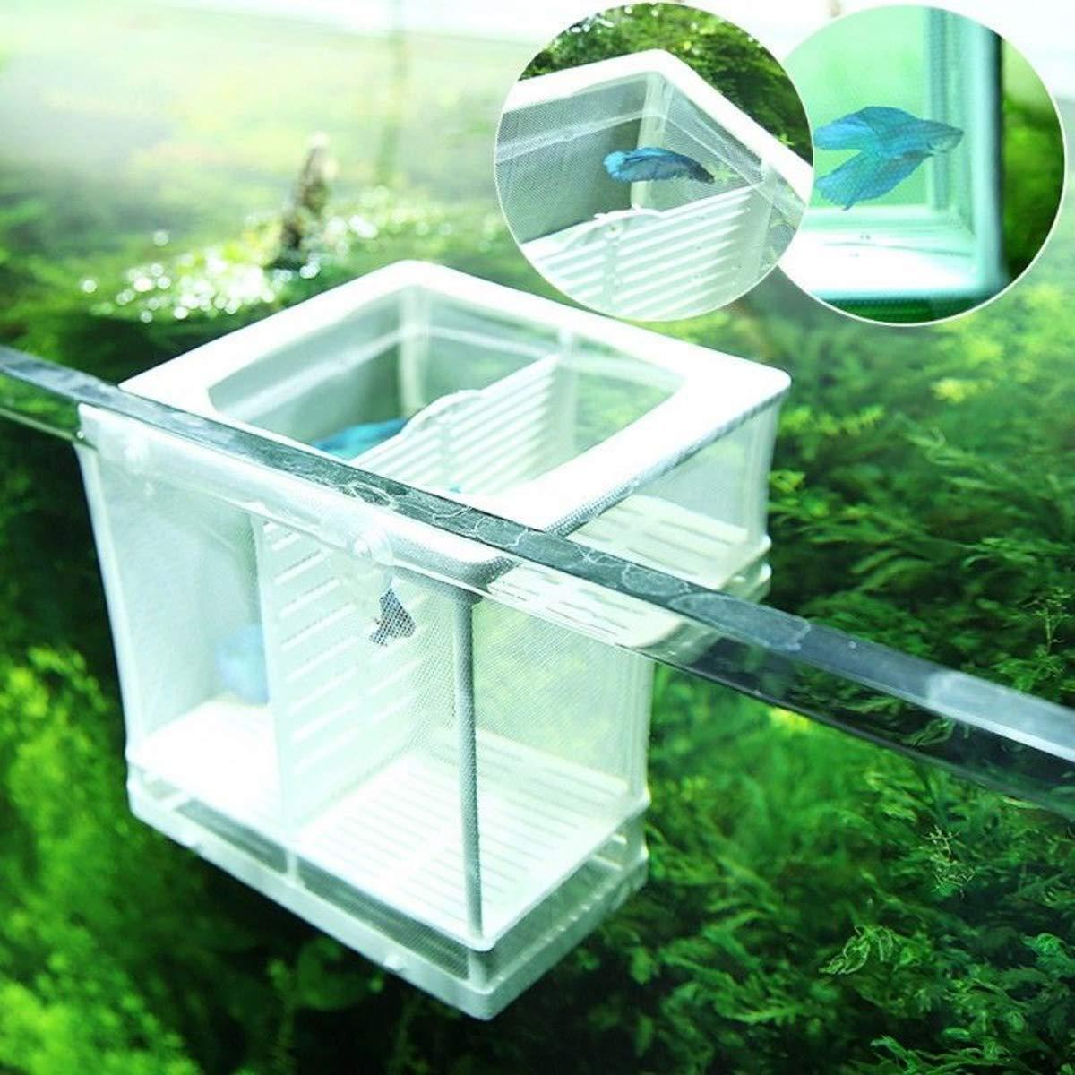 color aleatorio UEETEK Fish Breeder Net Fry incubadora de hatchery con ventosa para acuario