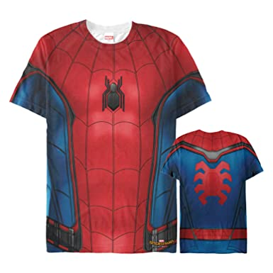 9a5196049 Amazon.com: Marvel Men's Spider-Man Homecoming Hero Costume All-Over Print T -Shirt: Clothing