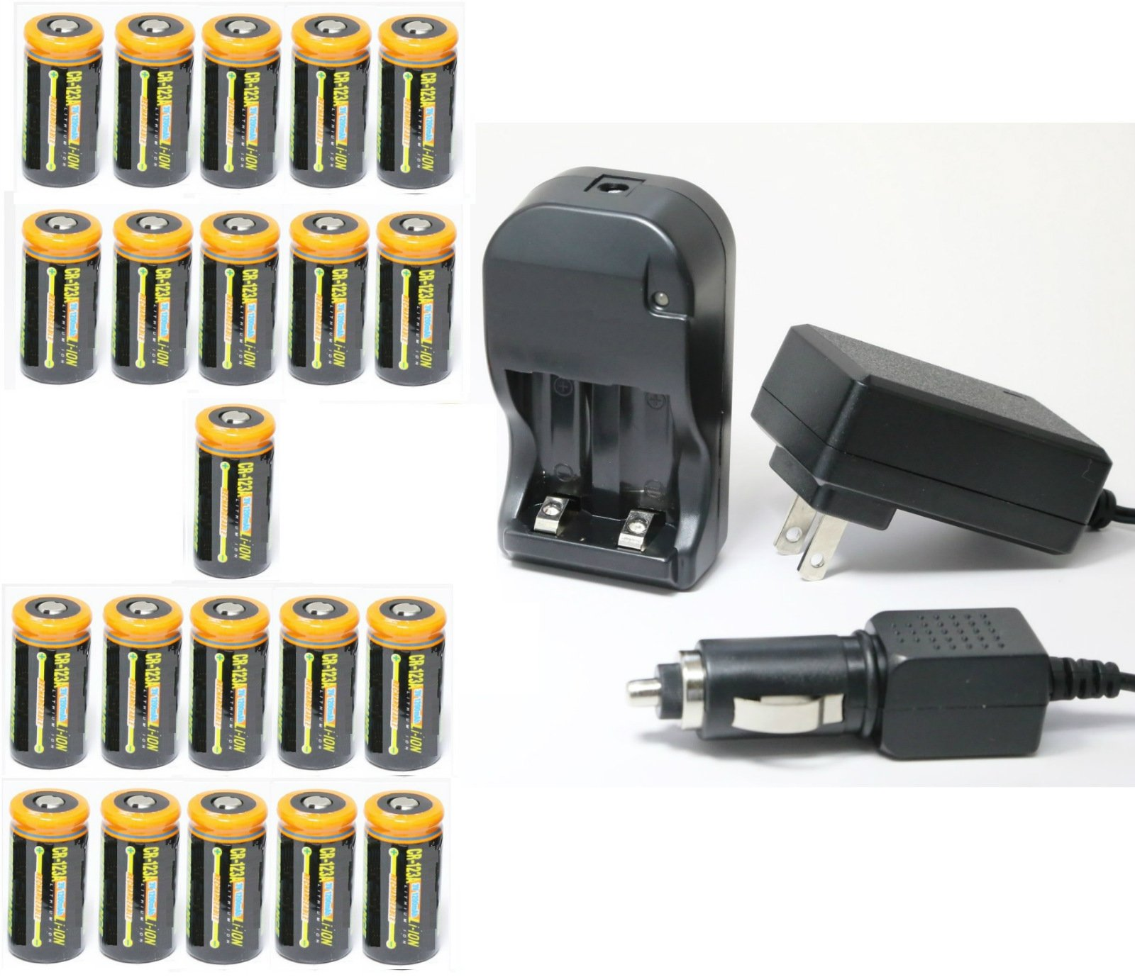 Ultimate Arms Gear 21pc CR123A 3V 1200 mAh Lithium Rechargeable Batteries Battery Charger Kit Universal 110/220V Rapid Wall Outlet & 12V Car Lighter Plug Adapter MAG TAC Flashlight Light Laser by Ultimate Arms Gear