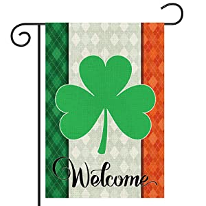 St Patrick's Day Garden Flag, Buffalo Plaid Spring Clover Shamrock Welcome Flag, Double Sided, Saint Patricks Day Banner for Outdoor/ Holiday Yard Sign/ Farmhouse/ Home/ Seasonal Decor, 12.5x18 Inch