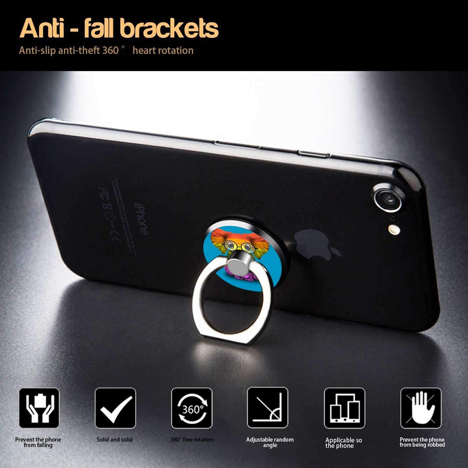 360/° Rotation Universal Smartphone Ring Grip Stand Car Mounts for iPhone iPad MobilePhone Ring Holder Stand Other Smartphones and Tablets Samsung Rainbow Flag Elephant