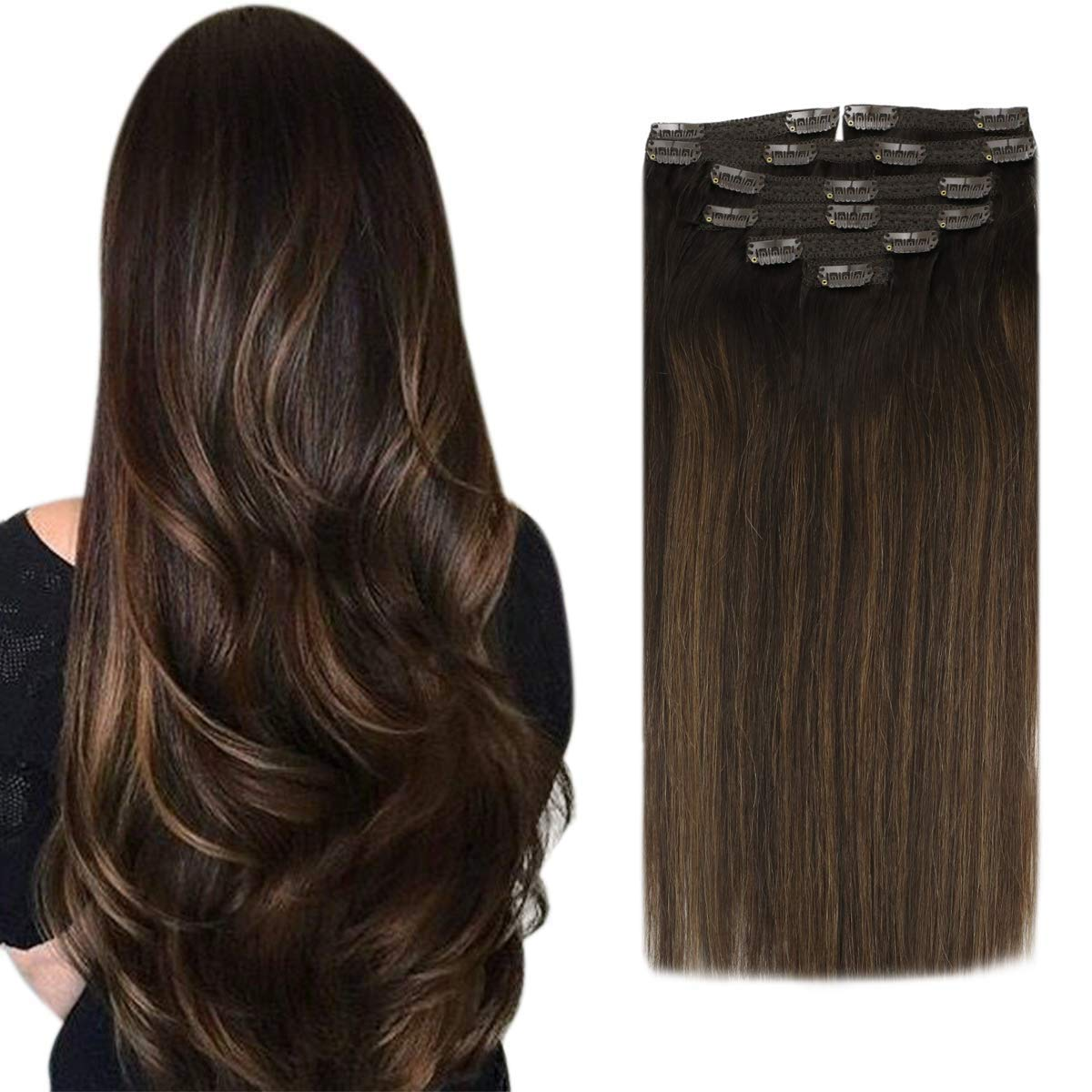 Sunny Balayage Clip in Hair Extensions Dark Brown Mix Medium Brown 12inch  Remy Clip in Balayage Hair Extensions Human Hair Full Head Set 12PC 12G