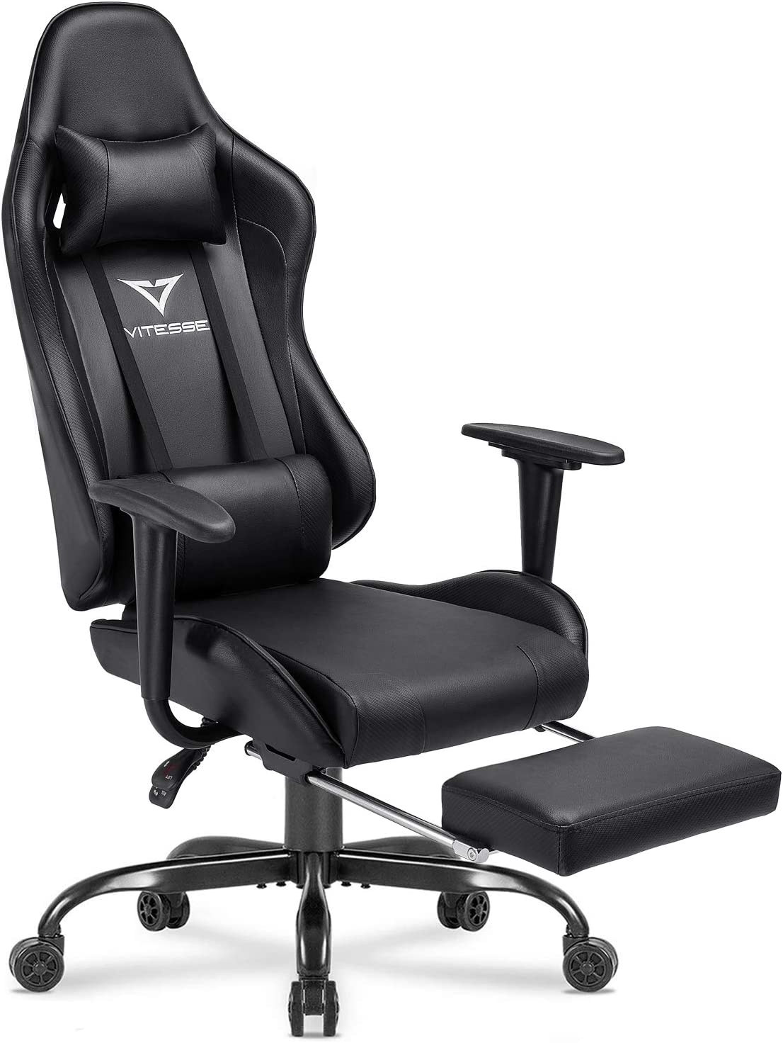 Amazon Com Vitesse Gaming Chair With Footrest Racing Style Computer Office Chair Adjustable Swivel Ergonomic Pc Desk Bucket Seat Chair With Lumbar Support And Headrest Black 1 Kitchen Dining